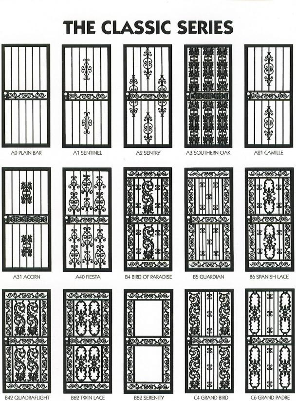 We offer over 100 differents styles of burglar doors with window guards to match. Our doors come with screens tempered glass or a combination of the two.  sc 1 st  Atlanta Iron Works & Burglarbars